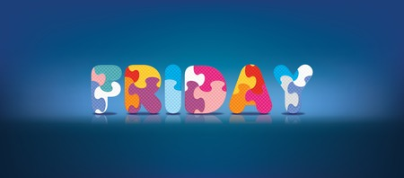 FRIDAY written with alphabet puzzle - vector illustration Vector