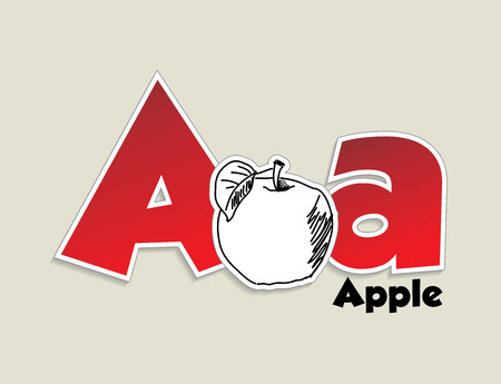 Fruits and vegetables alphabet - letter A - vector eps 10 illustration Vector