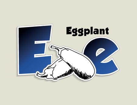 Fruits and vegetables alphabet - letter E - vector eps 10 illustration Vector