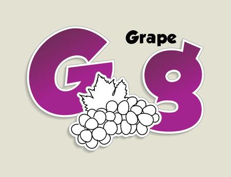 Fruits and vegetables alphabet - letter G - vector eps 10 illustration Vector