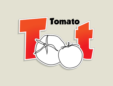 Fruits and vegetables alphabet - letter T - vector eps 10 illustration Vector