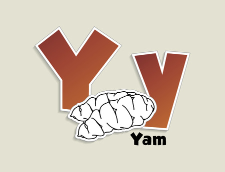 Fruits and vegetables alphabet - letter Y - vector eps 10 illustration Vector