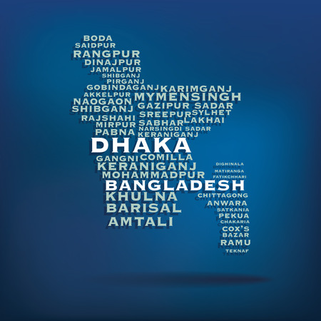 bangladesh: Bangladesh map made with name of cities