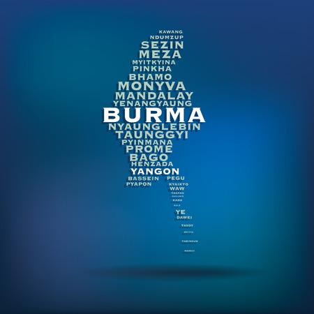 burmese: Burma map made with name of cities  Illustration