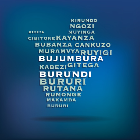Burundi map made with name of cities  Illustration