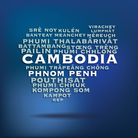 Cambodia map made with name of cities  Vector
