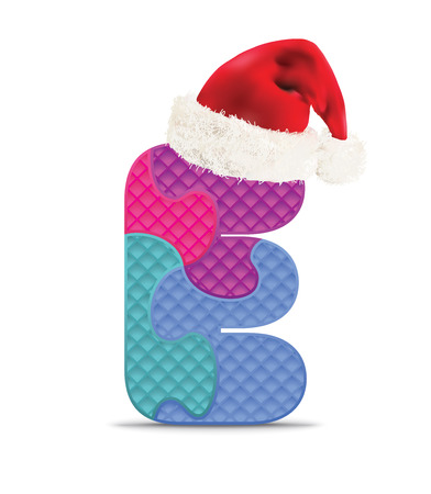 Letter E written with alphabet puzzle with christmas hat - vector illustration Vector