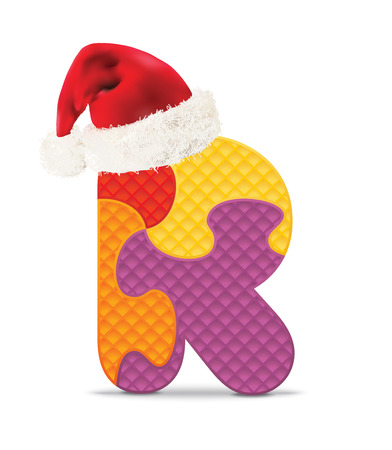 christmas hat: Letter R written with alphabet puzzle with christmas hat - vector illustration