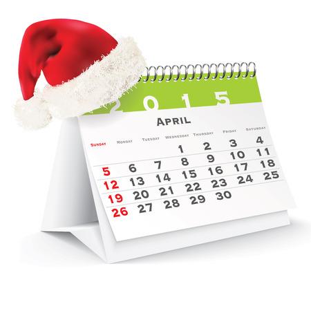 April 2015 desk calendar with Christmas hat - vector illustration Vector