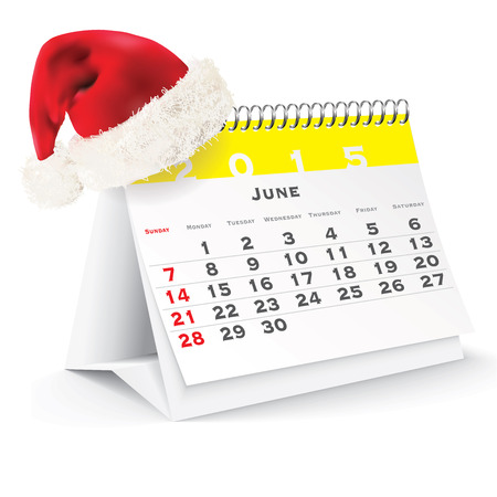 calendario da tavolo: Calendar 2015 scrivania con cappello di Natale - illustrazione vettoriale