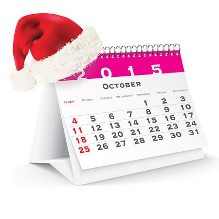 October 2015 desk calendar with Christmas hat - vector illustration Vector