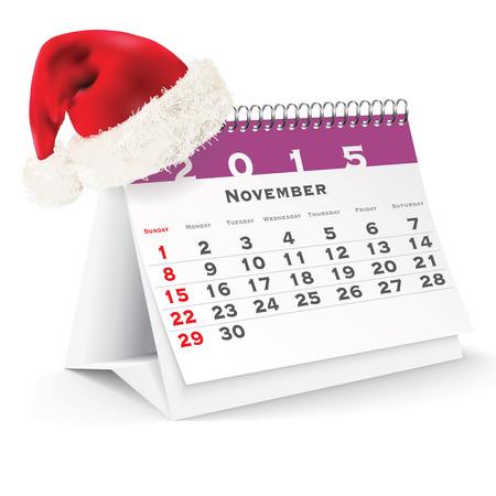 calendario da tavolo: Novembre calendario 2015 scrivania con cappello di Natale - illustrazione vettoriale