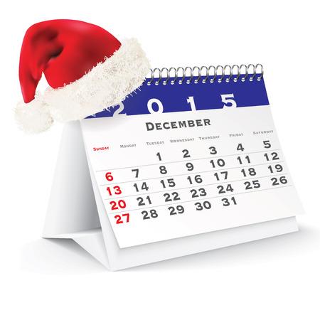 December 2015 desk calendar with Christmas hat - vector illustration Vector