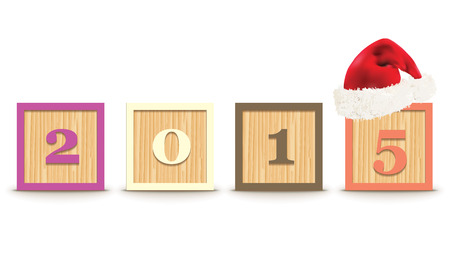 christmas hat: 2015 made from toy blocks with christmas hat  Illustration