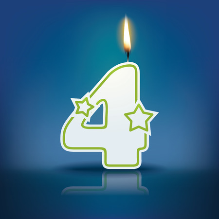 cake stand: Candle number 4 with flame - eps 10 vector illustration
