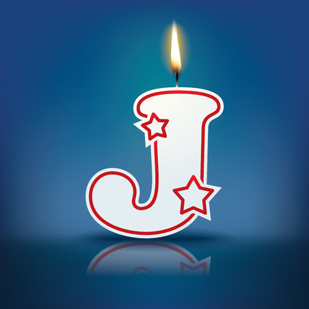 Candle letter J with flame - eps 10 vector illustration Illusztráció