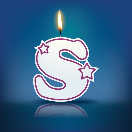colourful fire: Candle letter S with flame - eps 10 vector illustration Illustration
