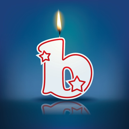 burning letter: Candle letter b with flame - eps 10 vector illustration
