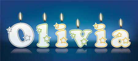 olivia: OLIVIA written with burning candles - vector illustration