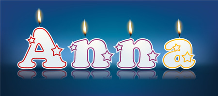 ANNA written with burning candles - vector illustration