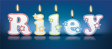 RILEY written with burning candles - vector illustration