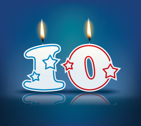 Birthday candle number 10 with flame  矢量图像