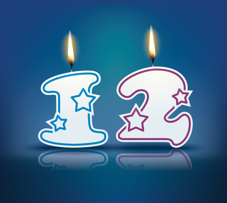 number 12: Birthday candle number 12 with flame  Illustration