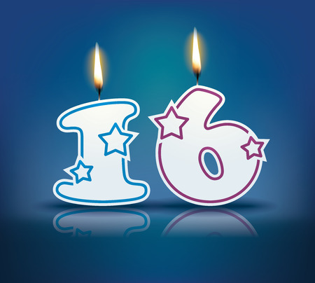number 16: Birthday candle number 16 with flame  Illustration