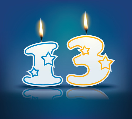 number 13: Birthday candle number 13 with flame