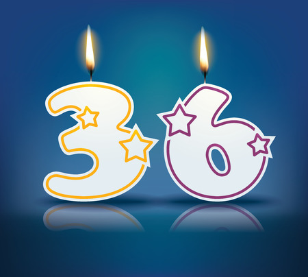 number 36: Birthday candle number 36 with flame Illustration