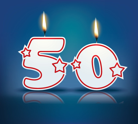 cake stand: Birthday candle number 50 with flame