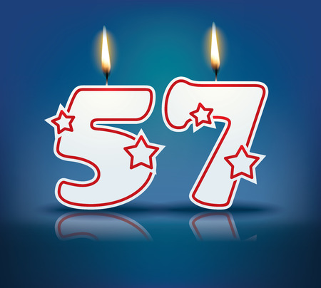 57: Birthday candle number 57 with flame  Illustration