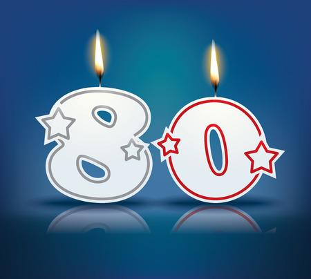 velas de cumpleaños: Número vela de cumpleaños 80 con la llama Vectores