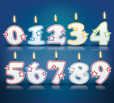Birthday candle numbers with flame
