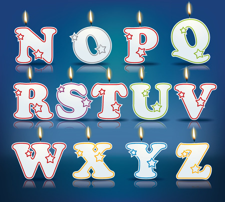 candle light: Candle letters from N to Z with flames  Illustration