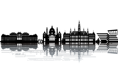 Vienna skyline - black and white vector illustration Ilustração
