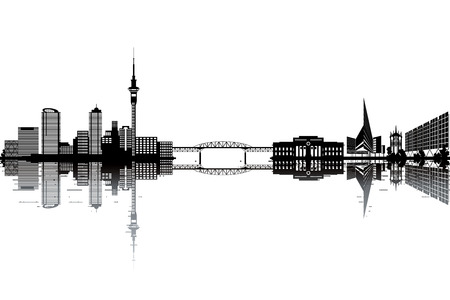 new building: Auckland skyline - black and white vector illustration