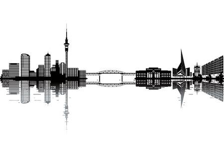 Auckland skyline - black and white vector illustration