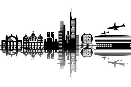 Frankfurt skyline - black and white vector illustration