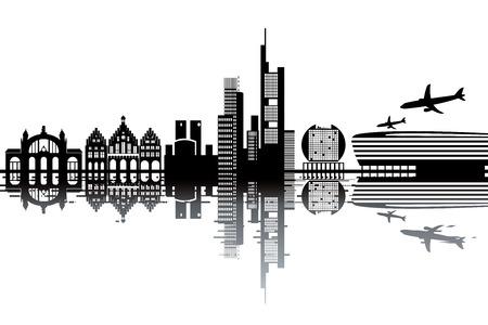 Frankfurt skyline - black and white vector illustration