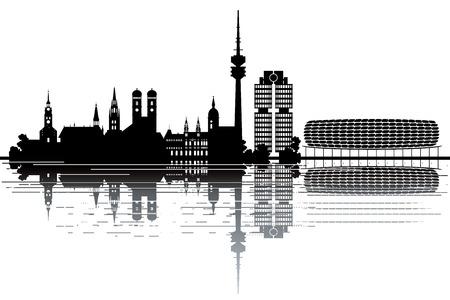 munich: Munich skyline - black and white vector illustration