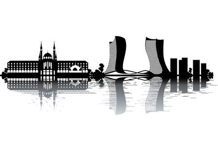 la union hace la fuerza: Horizonte de Kazan - ilustraci�n vectorial blanco y negro