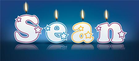 sean: SEAN scritto con candele accese - illustrazione vettoriale