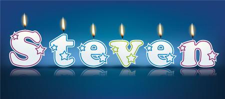 steven: STEVEN written with burning candles - vector illustration