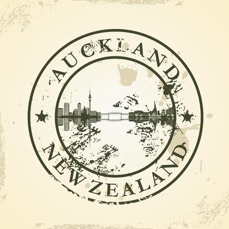 new zealand landscape: Grunge rubber stamp with Auckland, New Zealand - vector illustration Illustration