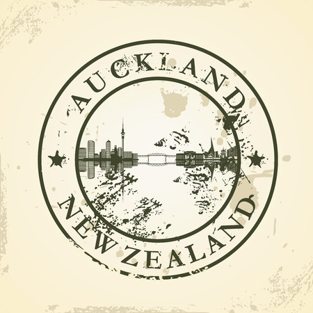 Grunge rubber stamp with Auckland, New Zealand - vector illustration Ilustracja
