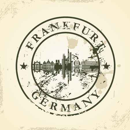 frankfurt: Grunge rubber stamp with Frankfurt, Germany - vector illustration Illustration
