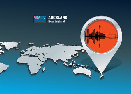Map pin with Auckland skyline - vector illustration Vector