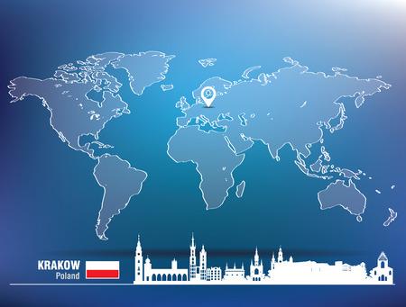krakow: Map pin with Krakow skyline - vector illustration