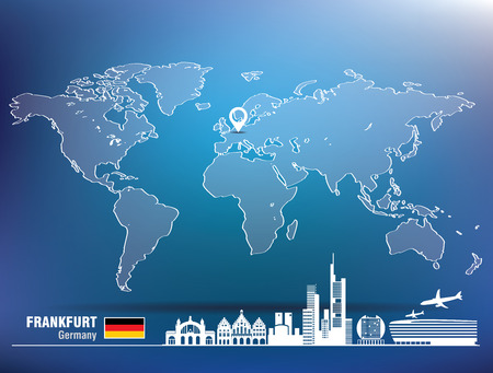 frankfurt: Map pin with Frankfurt skyline - vector illustration